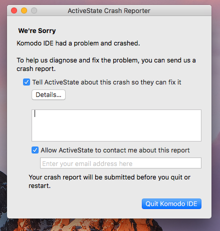 Komodo Crash macOS Sierra - Support - Komodo IDE & Edit | Forums