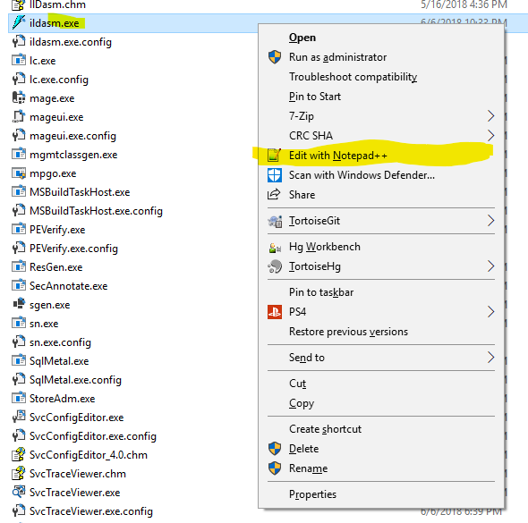 Windows File Explorer context menu item