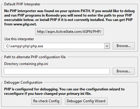 The PHP language tab looks as follows:
